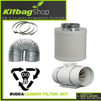 """4"""" In Line Fan, Carbon Filter & Duct Kit - Hydroponic Grow Room Tent Ventilation"""