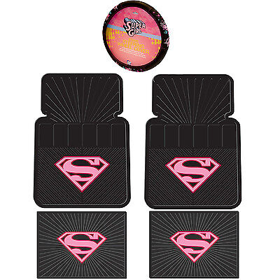 5PC DC Comic's Supergirl Pink Shield Front Rear Utility Rubber Floor Mats & Stee