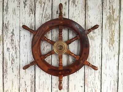 "18"" Wood / Brass Ships Wheel ~ Wooden Helm ~ Pirate Captain"