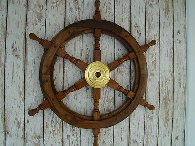 "25"" Wood / Brass Ship Wheel ~ Wooden Helm ~ Nautical Maritime Decor"