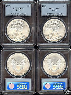 1-2009  American Eagle, 1Ozt Each 999 Pure Silver ******ms70*****graded By Pcgs