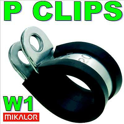 5 x 13mm RUBBER LINED METAL P CLIPS, FUEL HOSE PIPE 1/2
