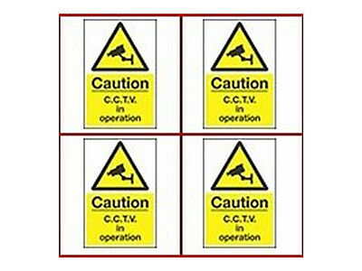 CCTV Warning Signs x 4 - 15 x 20 cm (A5) Security Camera Signs