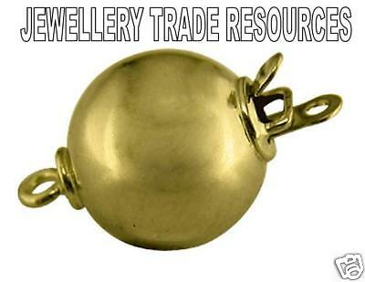 18ct Yellow Gold - 8mm Round - Pearl / Bead Necklace Jewellery Clasp