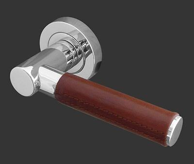 Paja Ascot Satin Chrome Leather Door Handles JV4006SC