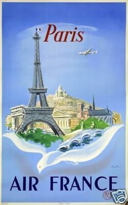 Affiche AIR FRANCE - Paris - R.Manset 1952
