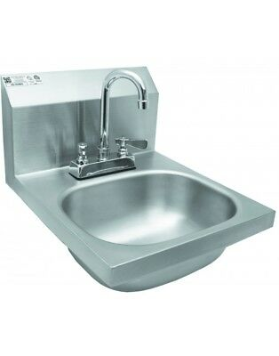 "Wall Mount Hand Sink w/ Deck Mount Faucet 14""x16"", Stainless Steel (HS-1416DG)"