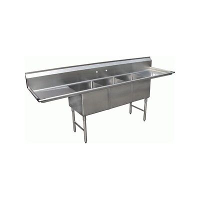"3 Compartment Stainless Steel Sink 15""x15"" 2 Drainboard"