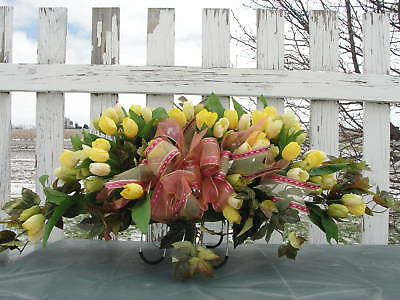 Funeral Caskets Grave Tombstone Saddle Green w/ Yellow Tulips or Red White Pink