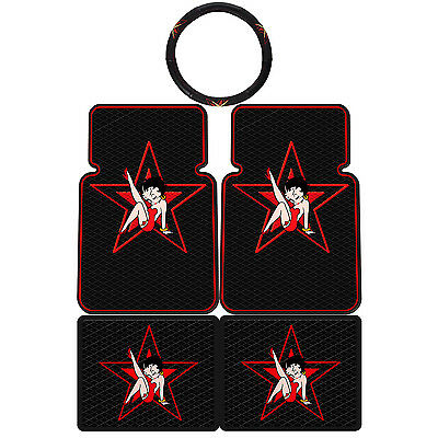 5PC Betty Boop Star Universal Rubber Floor Mats Steering Wheel Cover
