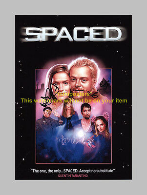 """Spaced Cast X2 Pp Signed Poster 12""""x8"""" Pegg & Frost"""