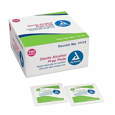DYNAREX - STERILE ALCOHOL PREP PADS, MEDIUM, 2000(10-200 Per Box)/Case #1113
