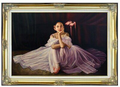 Framed Quality Hand Painted Oil Painting Portrait of a Ballerina 24x36in