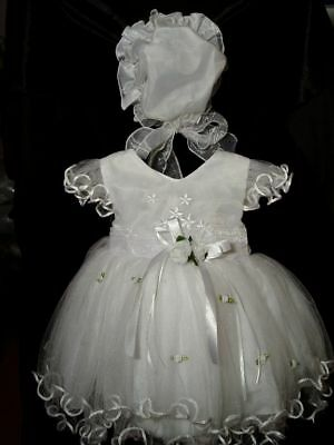 Baby Girls Christening Dress Wedding Party Dress with Bonnet
