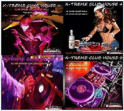 X-TREME CLUB HOUSE (VOL.3,4,5 & 6) 4 x DJ MIX CD'S - 240+ Hours of house music