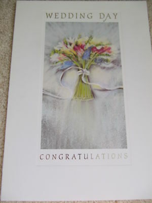 Stunning Bouquet Silver Writing Wedding Day Card