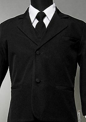 New Black formal Boy Suit Kids Dress tuxedo No Tail Satin Lapel Black sz S to 20