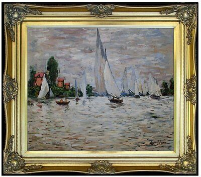 Framed, Monet Regatta at Argenteuil Reprol, Hand Painted Oil Painting 20x24in