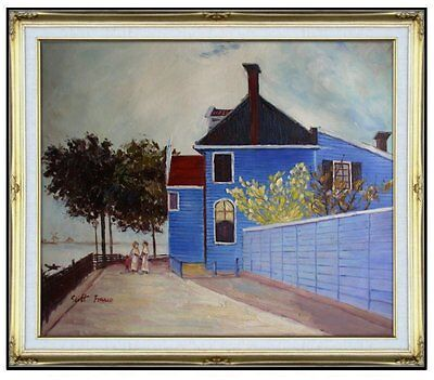 Framed Hand Painted Oil Painting Repro Claude Monet Blue House 20x24in