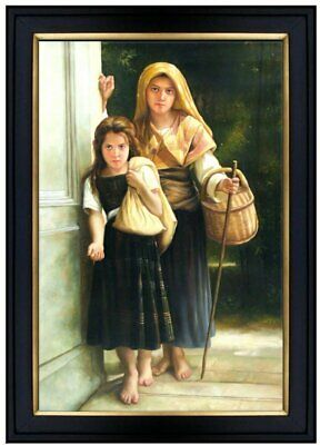 Framed Hand Painted Oil Painting Repro Bouguereau Little Beggars 24x36in