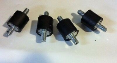 """4 Rubber Vibration Isolator Mounts 1/4-20 (3/4"""" x 3/4"""")  MADE IN THE USA"""