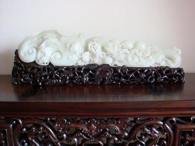 Fine Nephrite Carved Large *Ru Yi* With Mahogany Stand