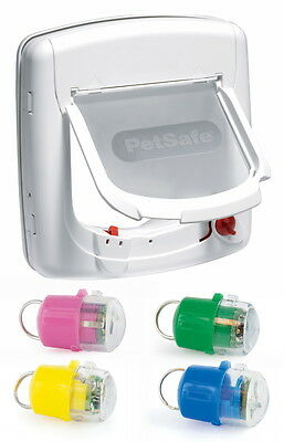 Staywell White Infra Red 500 Cat Flap Door & Key 4 Way Locking