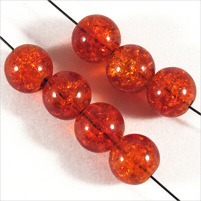 Lot de 30 perles Craquelées en Verre 8mm Orange