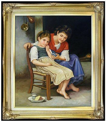 Framed Hand Painted Oil Painting Repro Bouguereau, Little Pouter 20x24in