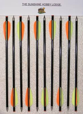 "10 X 13.5"" Crossbow Bolts Carbon + Glass Fiber Standard Recurve Xbow Arrows New"