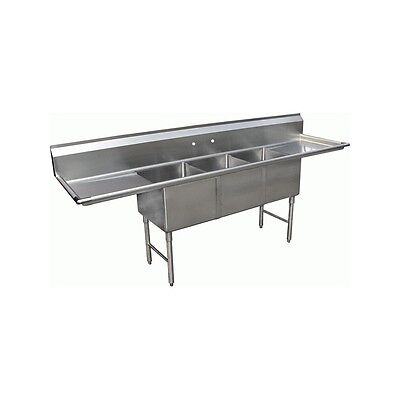 """3 Compartment Stainless Steel Sink 18""""x18"""" 2 Drainboard"""