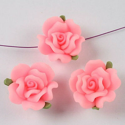 10pcs handmade fimo polymer clay flower beads sh0106