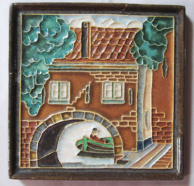 Delft Tile Canal Scene Buildings Man in Boat