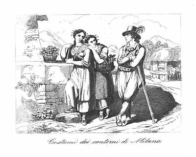 Italien - Mailand - Costumi - Stahlstich Frommel - 1840