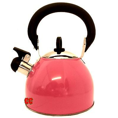 Whistling Stainless Steel Kettle Pink 2.5 Ltr Camping Retro Design camper van