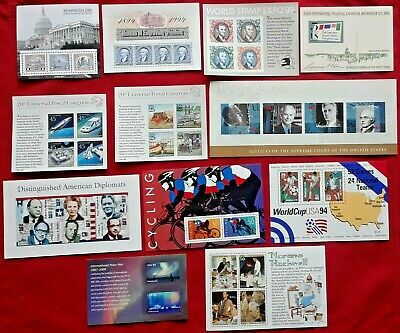 Combo: Special Lot of 12 Different Mini Souvenir New Sheets US PS Postage Stamps