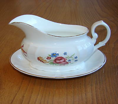 Royal Stafford Gravy or Sauce Boat & Stand - white gilded rim and a floral panel