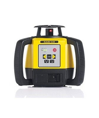 Leica Rugby 640 Rotary Laser Level With Rod Eye 120 and Alkaline Battery Pack
