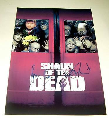 """Shaun Of The Dead Cast X2 Pp Signed Poster 12""""x8"""" Pegg"""