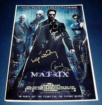 THE MATRIX CAST x4PP SIGNED POSTER 12X8 KEENU REEVES N2