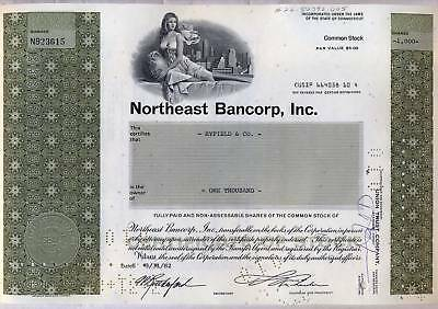 Northeast Bancorp Bank Stock Certificate Share