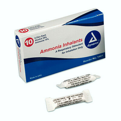 AMMONIA INHALANTS CAPSULES 33cc 10/PK FOR EMT FIRST AID, NEW
