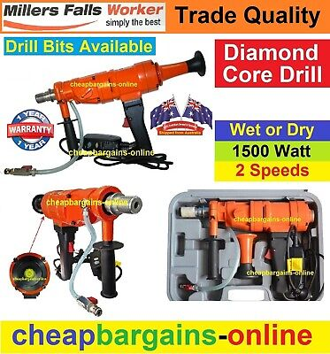 DIAMOND CORE DRILL WET & DRY CUTTING 80mm CAPACITY MILLERS FALLS 1500w 2 SPEED