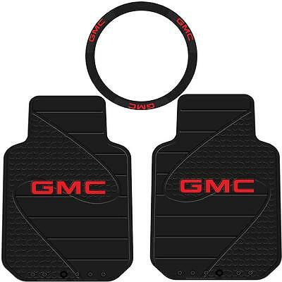3Pc Gmc Factory Front Floor Mats & Steering Wheel Cover