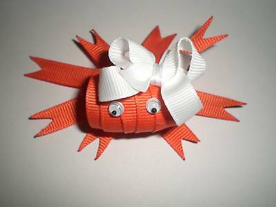 CRAB Hair Bow Ribbon Clip - Orange or Red