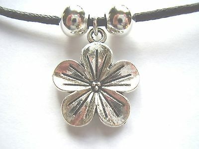 Hibiscus flower dark silver pendant black waxed cotton cord surf style necklace