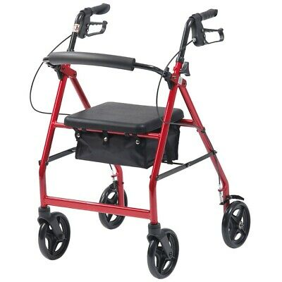 Mobility Rollator folding Walking aid frame 4 Wheeled walker seat basket tray