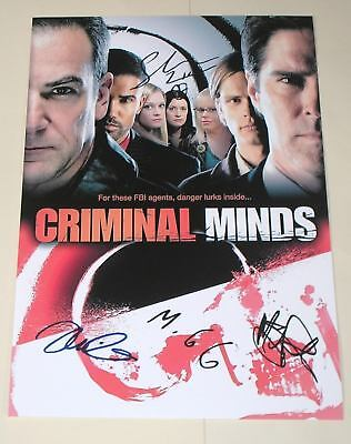 "Criminal Minds Cast X4 Pp Signed 12""x8"" Poster Gideon"