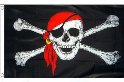 3' x 2' Pirate with Red Bandana Flag Skull and Crossbones Pirates Party Banner
