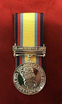 """Full Size Gulf Medal 1991 Medal With Date Clasp Copy- Comes With 10"""" Ribbon"""